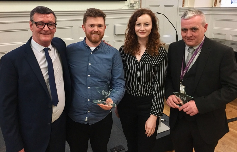 The team with the Phoenix Futures New Year Honours Partnership Award. L-R: Phoenix Futures service user, Dr Paul Murtagh (CAVLP Heritage), Rachel McRae (CAVLP Heritage) and John Deeney, Phoenix Futures Service Manager