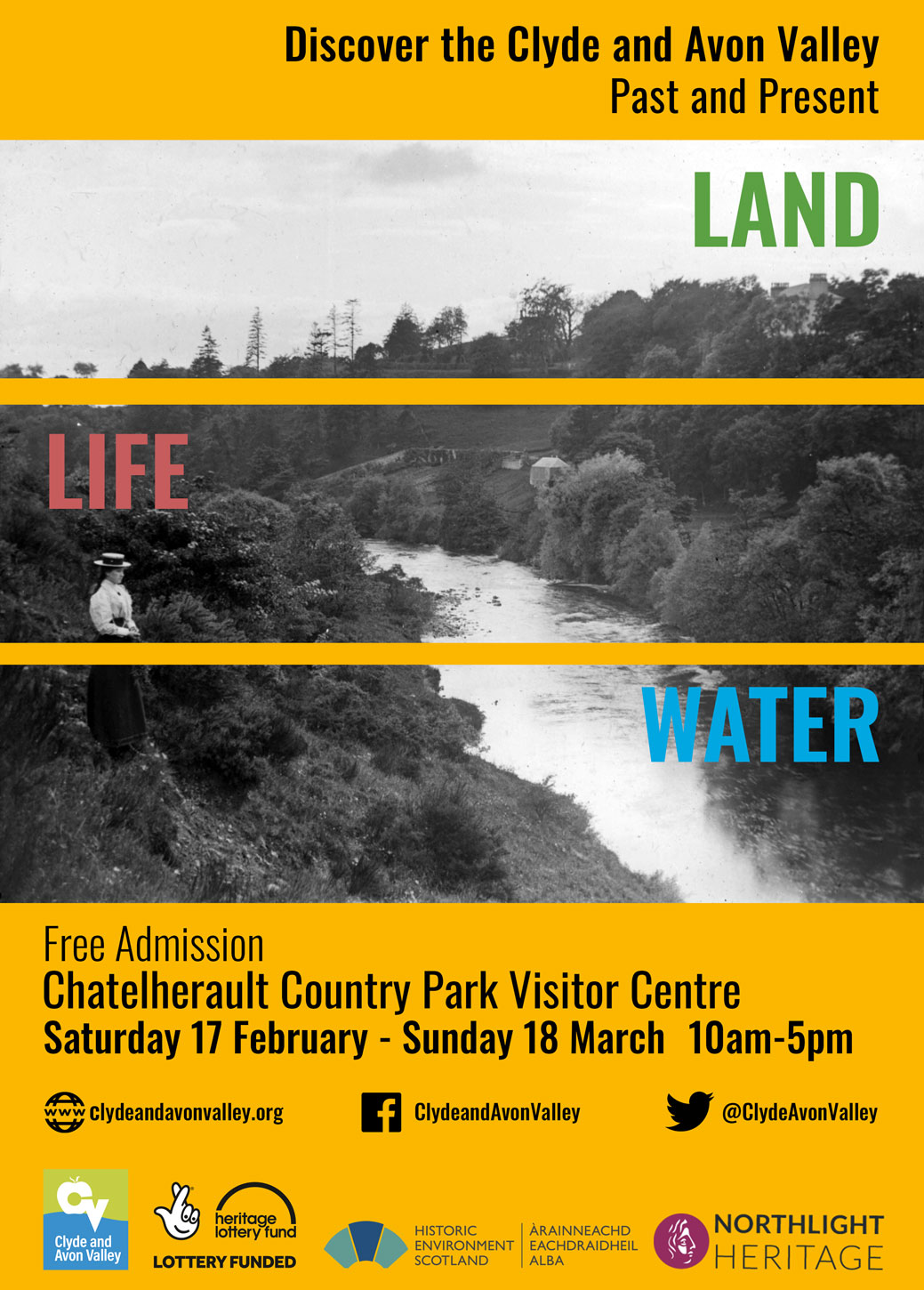 Land, Life, Water: the Clyde and Avon Valley Past and Present exhibition, Saturday 17 February - Sunday 18 March, Chatelherault Country Park