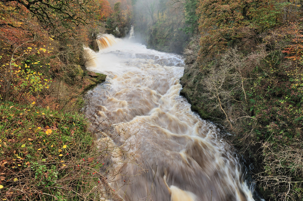 The River Clyde in full spate during autumn