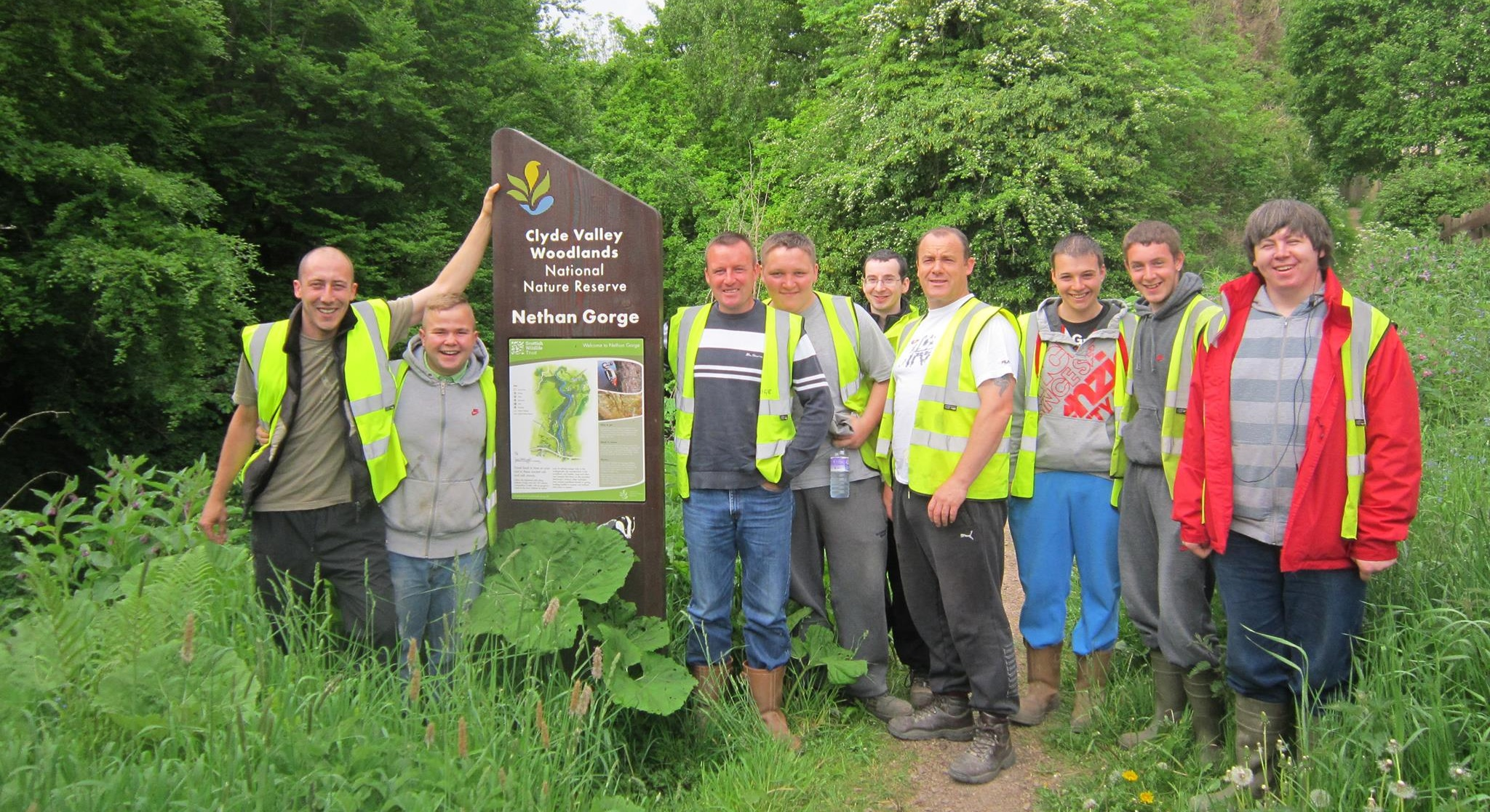 Clydesdale Community Initiatives (CCI) volunteers at Scottish Wildlife Trust Nethan Gorge, part of the Clyde Valley National Nature Reserve (NNR)