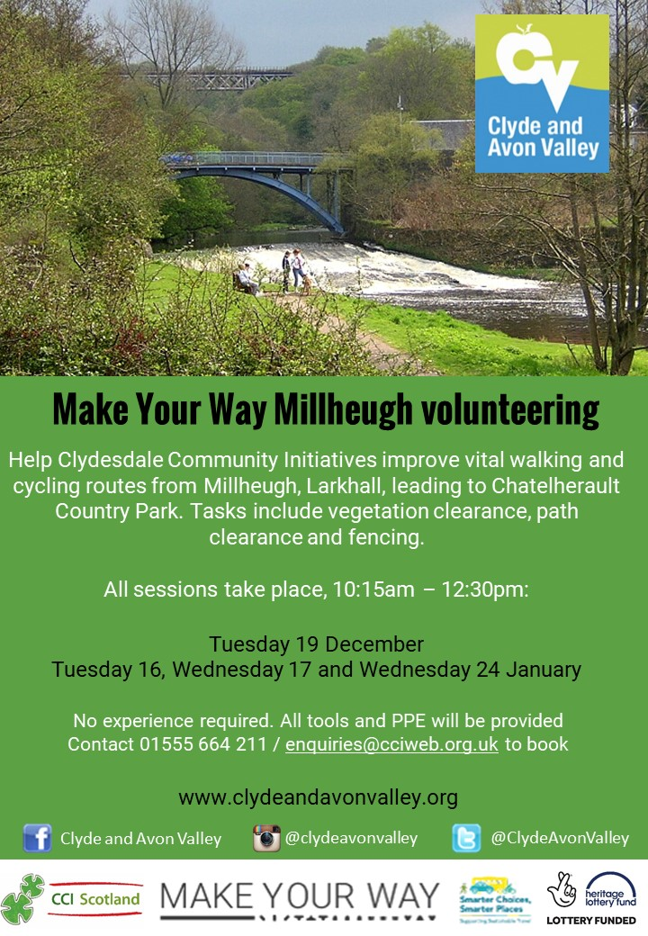 Join the Clydesdale Community Initiatives volunteer group to help care for the pathways around Millheugh, Larkhall