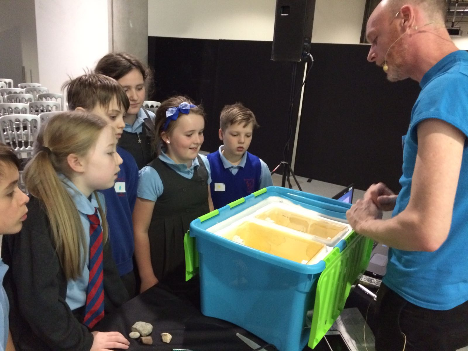 Wester Overton learn how to operate a classroom hatchery for their brown trout eggs at the launch of the Salmon Homecoming at Glasgow Science Centre on 19 January, Clyde River Foundation