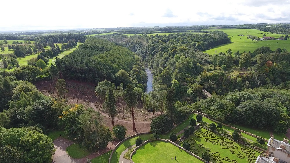 View of the latest phase of woodland management project at Chatelherault Country Park, courtesy of  Bjorn Aern, Drone Scotland, www.dronescotland.com