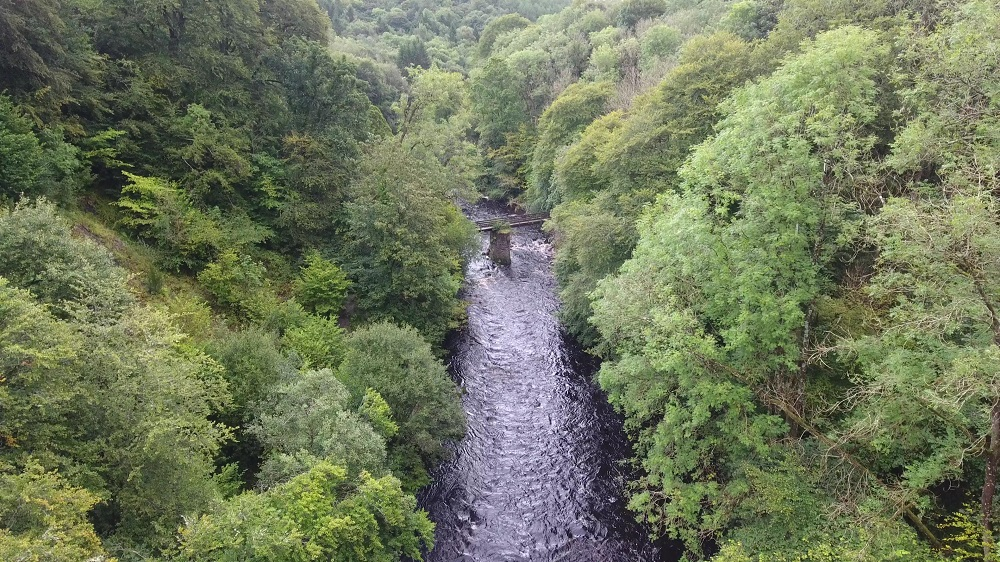 Funds generated from the felled timber will go towards the repair of the White Bridge, courtesy of  Bjorn Aern, Drone Scotland, www.dronescotland.com