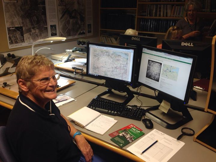 Hilary gets to grips with the Aerial Photography resources at RCAHMS Photo. Lorna Innes, Northlight Heritage