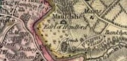 Mauldslie as shown in William Forrest's map of the County of Lanark (Imprint 1816). By permission of the National Library of Scotland.