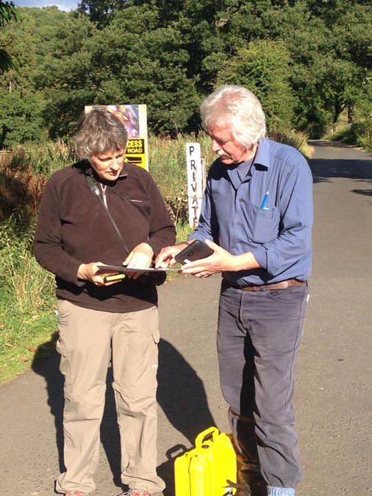 Ruth and Willie working with map and tablet at Mauldslie. Note also the carrying case for the tablet and camera – not something that we're likely to leave behind. Photo: Lorna Innes, Northlight Heritage