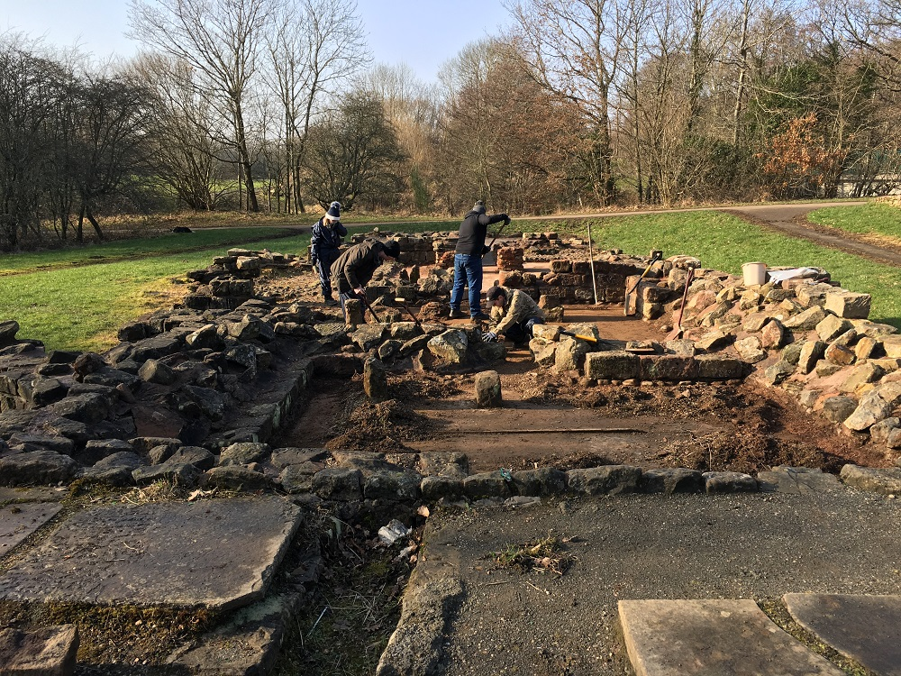 Phoenix Futures service users at work on the Roman bathhouse, Strathclyde Country Park, Motherwell
