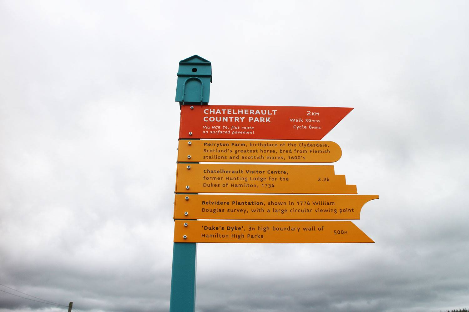 Wayfinding signage installed as part of the Make Your Way Chatelherault project