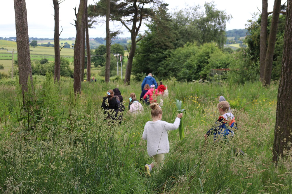Newfield Primary School pupils enjoy the green space near the school