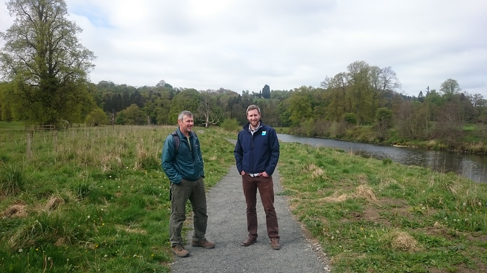 Stuart Davis, Scottish Natural Heritage SNH and Ewan Bachell, Clyde and Avon Valley Landscape Partnership CAVLP, at the restored section of the Clyde Walkway, Mauldslie Woods