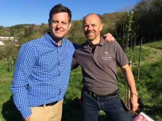 Duncan and Matt Baker, filming a feature on the Clyde Valley Orchards for BBC Countryfile, 2017
