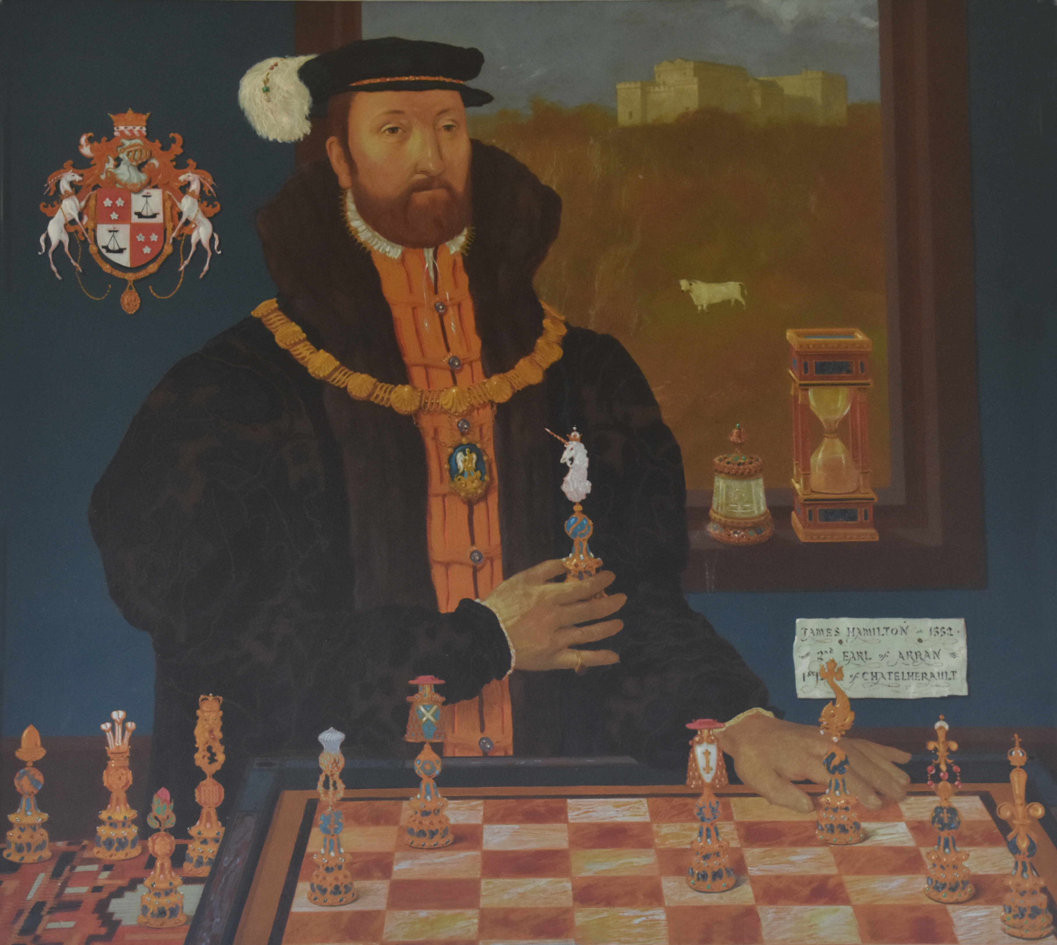 2nd Earl of Arran Playing Political Chess, John Halliday, oil on canvas, 1986, copyright South Lanarkshire Council