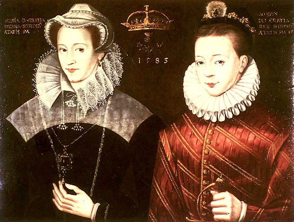 Mary Stuart and her son King James IV of Scotland, unknown artist, 1583 http://www.tudorplace.com.ar/Bios/MaryStuart.htm, original at Blair Castle, Public Domain, https://commons.wikimedia.org/w/index.php?curid=1001947