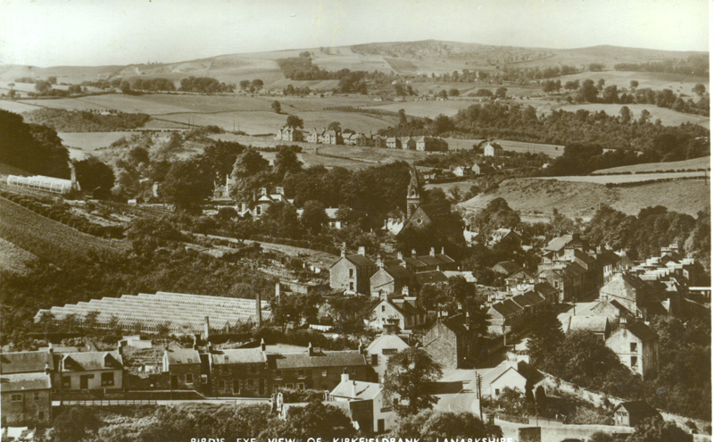 Birdseye view of Kirkfieldbank including glasshouses, postcard