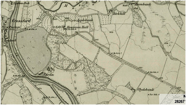 Ordnance Survey 1st edition six-inch map, Lanarkshire XXV. Surveyed 1858-9, published 1864