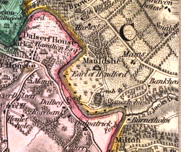 William Forrest's 1816 map 'The County of Lanark from Actual Survey' shows the more naturalistic designed  landscape established at Mauldslie by the 5th Earl of Hyndford at the end of the 18th century