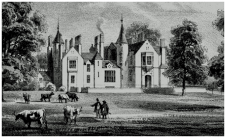 An etching in 1837 from The Upper Ward of Lanarkshire by David Wilson, showing Milton Lockhart House with Meander Parkland in the foreground, cattle grazing and people walking beneath the great lime trees