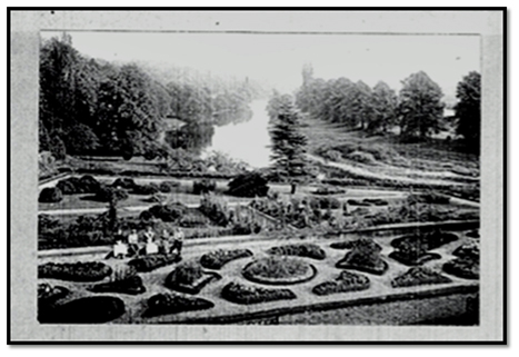 The formal gardens of Milton Lockhart in the early 1900s were regularly opened to the public (note staff in the foreground)