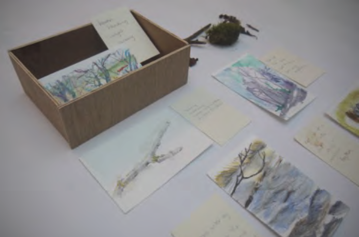 A Journey Box with sketches and collected items inside