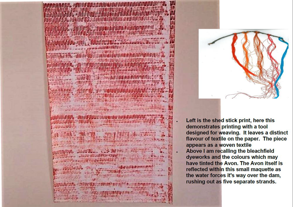 Shed stick print and dyed wool, recalling colours that may have tinted the Avon Water