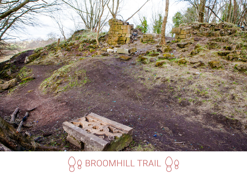 3. Behind the park, up the hill and following some rough tracks you will find the remains of Broomhill House.