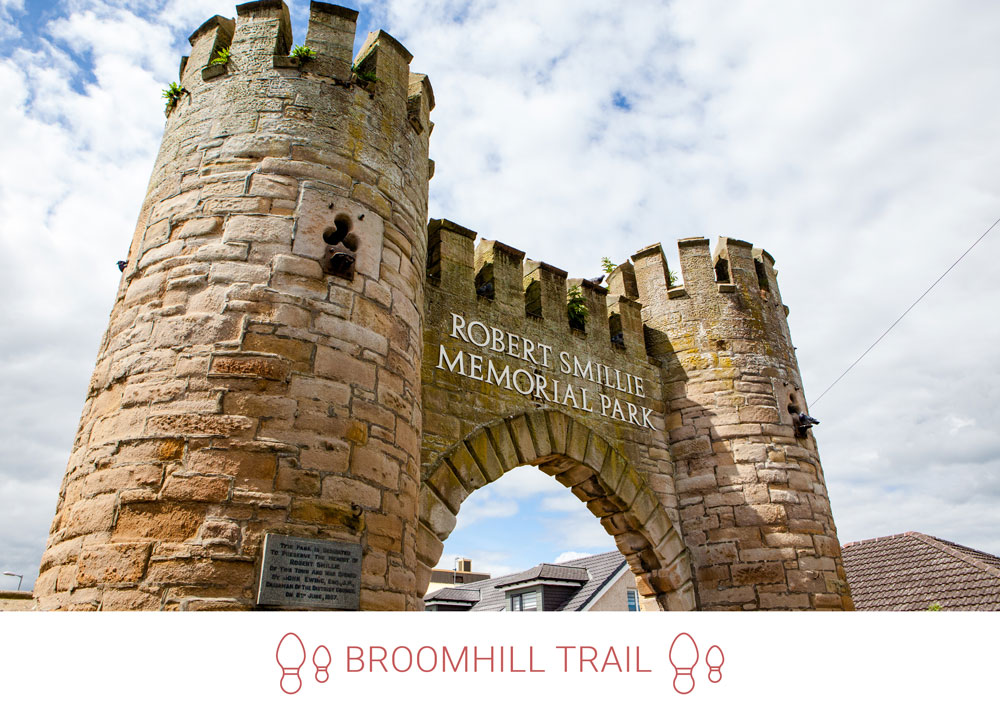 6. Going back into town, reach the the former Broomhill Arch, now the entrance to the Robert Smillie Memorial Park.