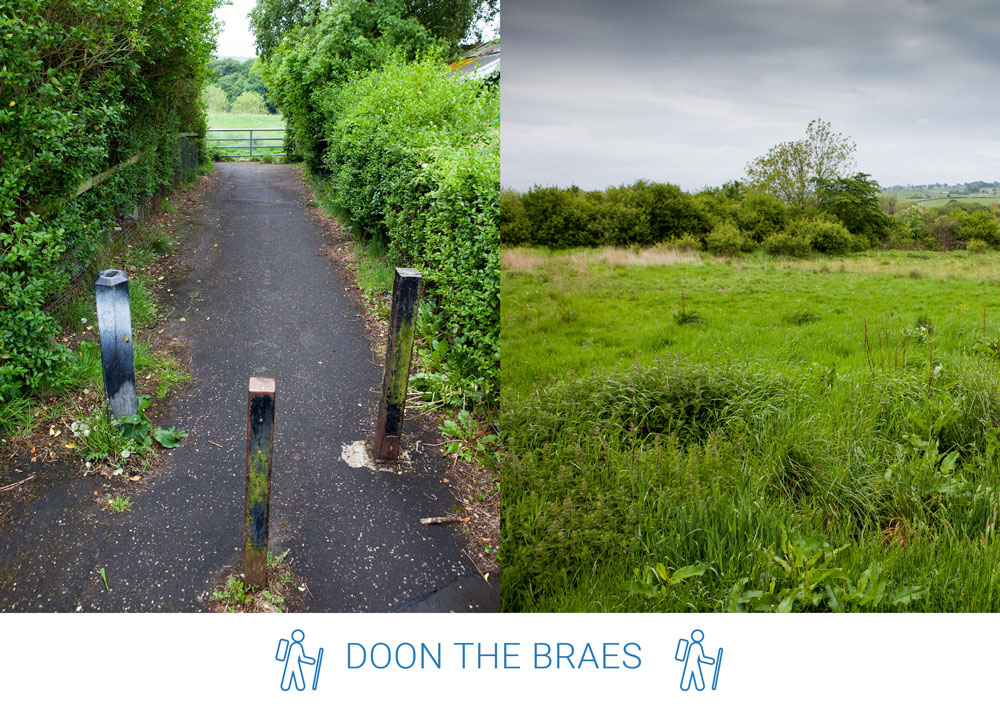 3. At the curve of the road take this lane between the houses and head left along the Braes.