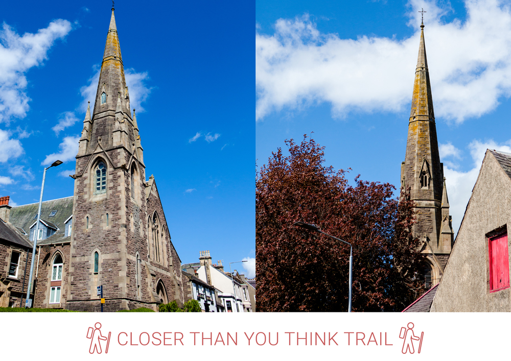 6. Before the former St. Kentigern's Church, take a left connecting to Jerviswood Road. Go along the Glebe to Wheatpark Road.