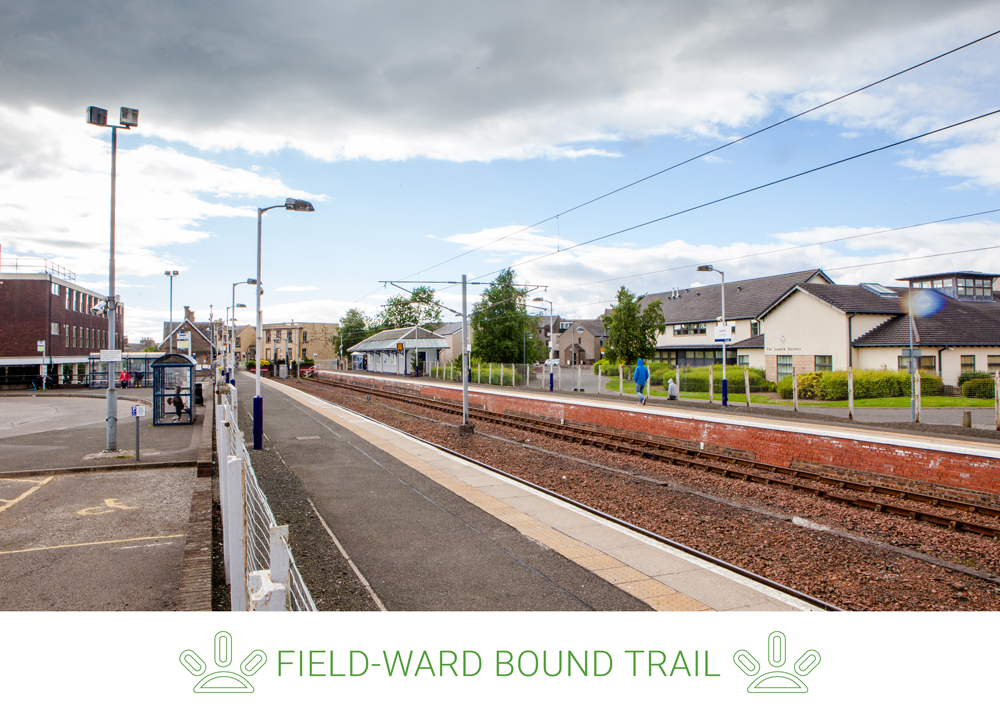 4. Smyllum Road connects via Skye Walk, passing a playing field, to Thomas Taylor Avenue and Lanark Train Station.
