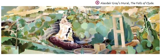 A must-see in the Clyde and Avon Valley - Alasdair Gray's Falls of Clyde mural