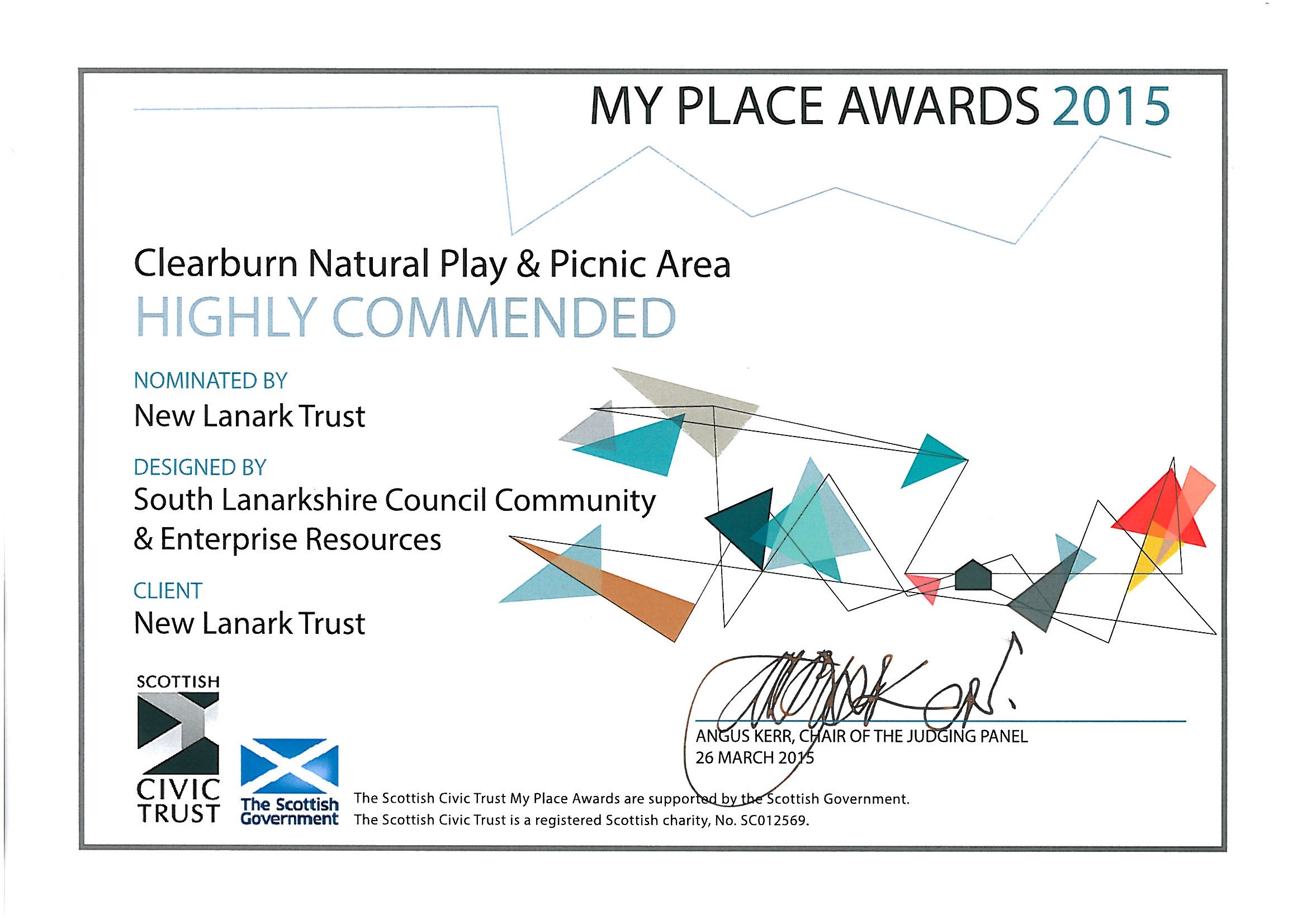 Clearburn Natural Play Area Commended as Exemplar Greenspace